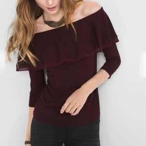 WHBM Off The Shoulder Flounce Blouse